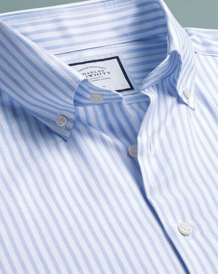 Slim fit business casual non-iron sky blue stripe shirt with TENCEL™