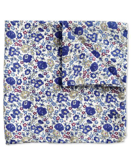 Royal blue multi luxury Italian floral pocket square