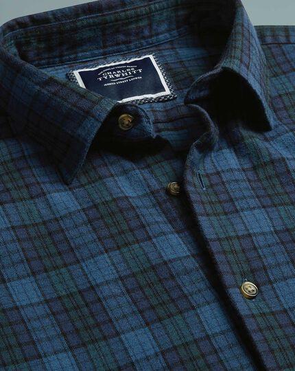 Slim fit winter flannel tartan check blue shirt