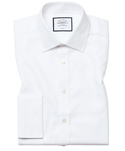 Slim fit non-iron white royal Panama shirt