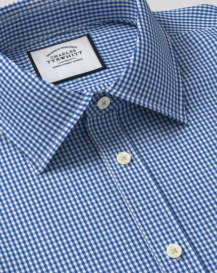 Classic Collar Gingham Shirt - Royal Blue