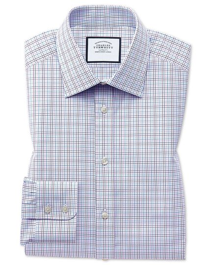 Extra slim fit purple multi check Egyptian cotton shirt