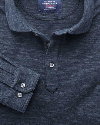 Denim blue long sleeve polo