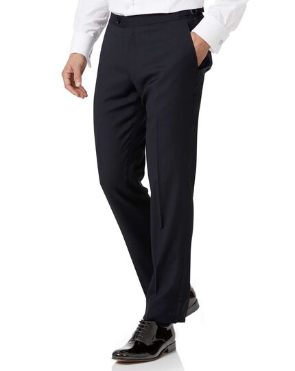 Midnight blue slim fit tuxedo trousers