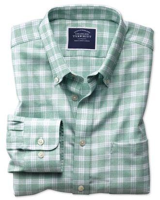Chemise verte et blanche en twill coupe droite à col boutonné sans repassage