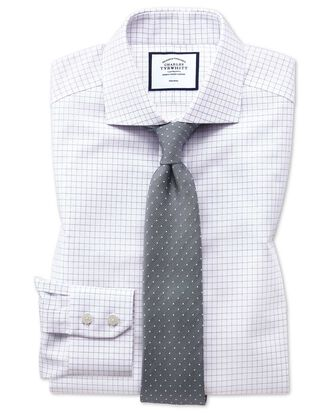 Slim fit non-iron spread collar lilac fine check shirt