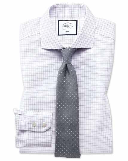 Slim fit non-iron cutaway collar lilac fine check shirt