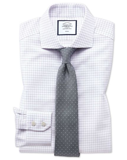 Slim fit non-iron cutaway collar lilac fine check shirt
