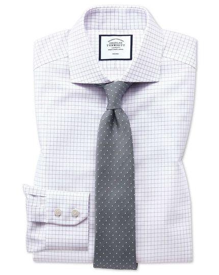 Slim fit non-iron spread collar lilac fine check shirt