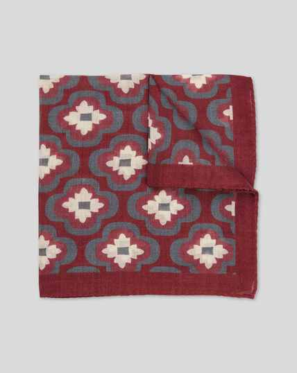 Floral Italian Luxury Pocket Square - Berry & Navy