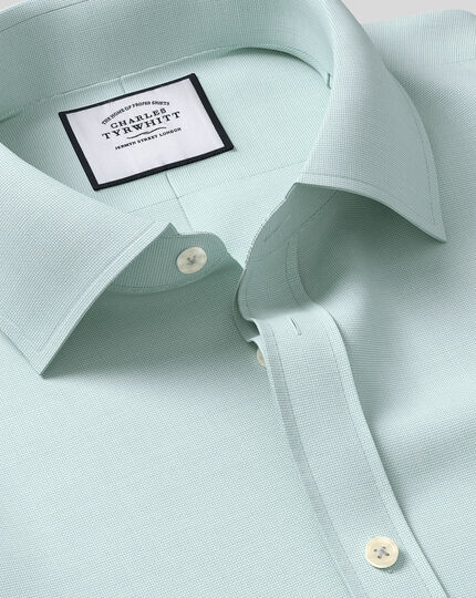 Classic Collar Egyptian Cotton Lattice Weave Shirt - Teal