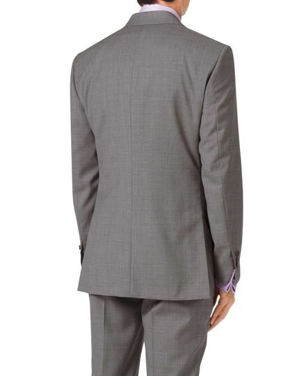 Silver slim fit cross hatch weave italian suit jacket