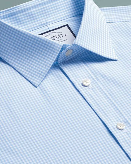 Extra slim fit sky blue small gingham shirt