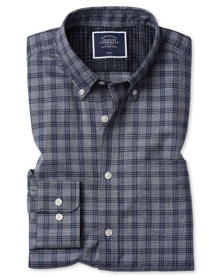 Classic fit grey check soft wash non-iron twill shirt