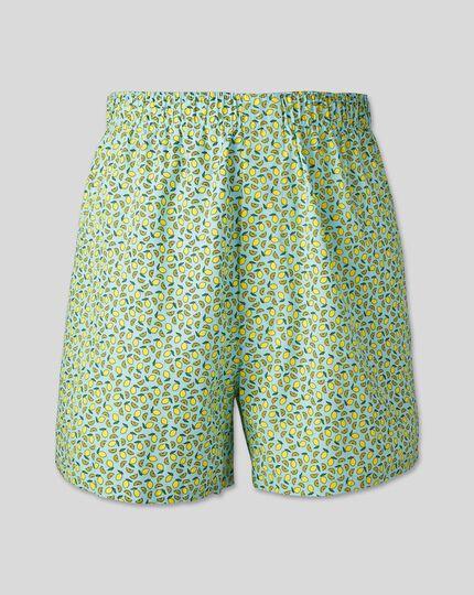 Lemon Motif Woven Boxers - Light Green