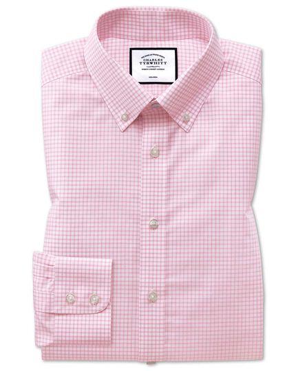 Bügelfreies Classic Fit Hemd mit Windowpane-Karos in Rosa