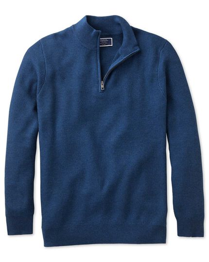 Blue pima cotton textured zip neck sweater