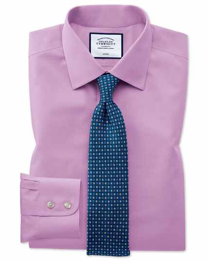 Chemise violette en popeline slim fit sans repassage