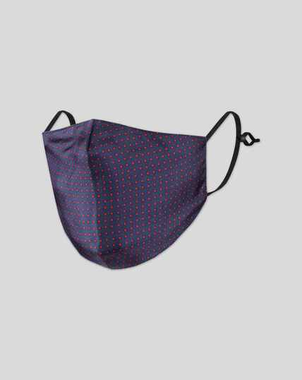 2-in-1 Silk Face Mask/Pocket Square - Navy & Red