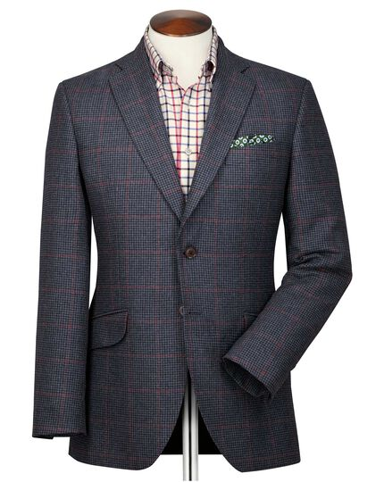 Slim fit navy and pink check British tweed jacket