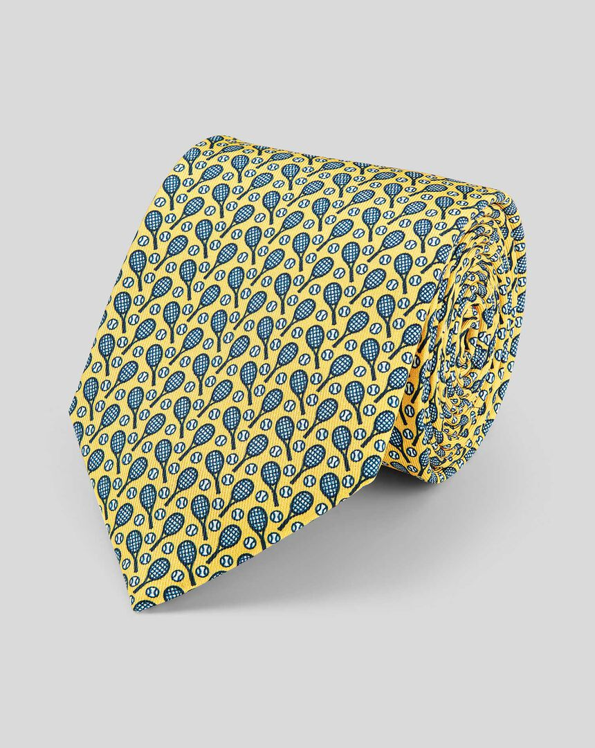 Tennis Racket Silk Print Classic Tie - Yellow