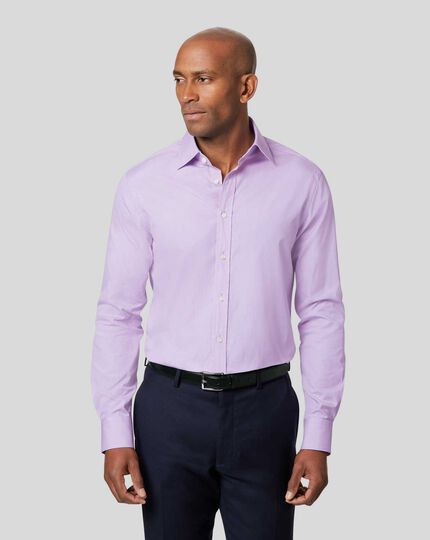Semi-Cutaway Collar Egyptian Cotton Poplin Shirt - Lilac