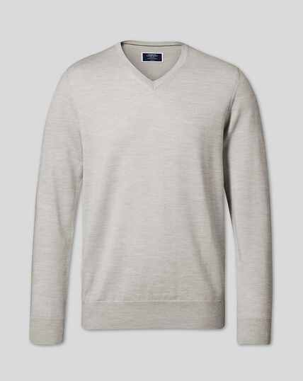 Merino V-neck Sweater - Silver