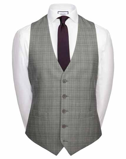 Grey Price of Wales adjustable fit Panama business suit waistcoat