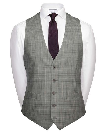 Grey Prince of Wales adjustable fit Panama business suit vests