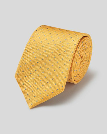 Silk Textured Spot Stain Resistant Classic Tie - Yellow & Sky
