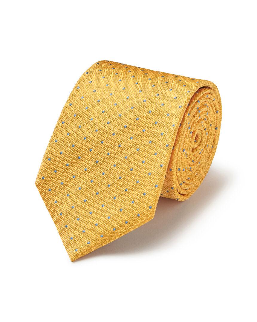 Stain Resistant Silk Textured Spot Tie - Yellow & Sky