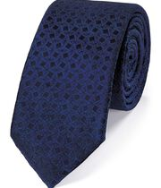 Navy silk geometric slim tie