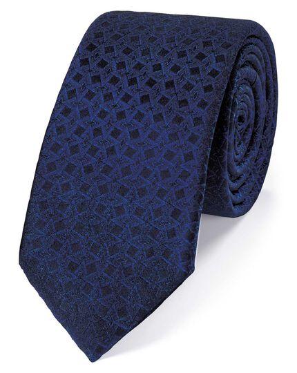 Navy silk geometric slim tie