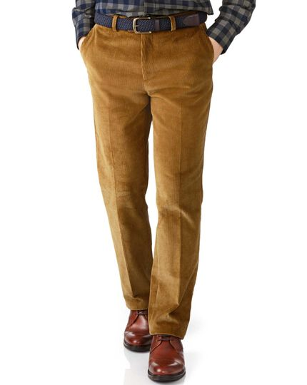 Yellow slim fit jumbo cord trousers