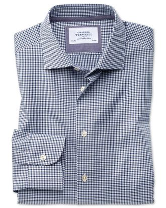 Classic fit semi-spread collar business casual gingham navy and grey shirt