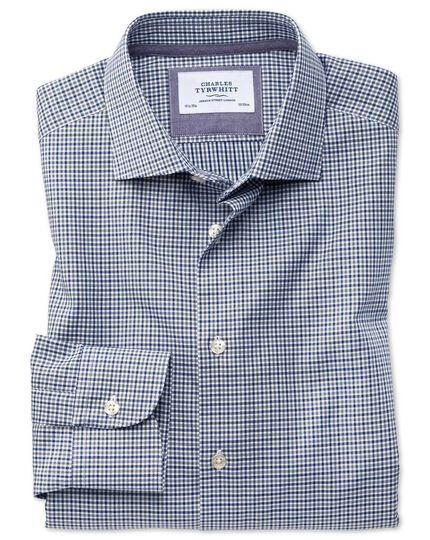 Classic fit semi-cutaway business casual gingham navy and grey shirt