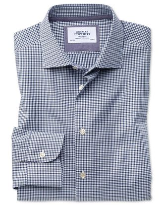 Slim fit semi-spread collar business casual gingham navy and grey shirt