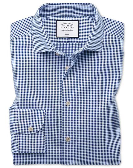 Classic fit business casual non-iron square texture navy shirt