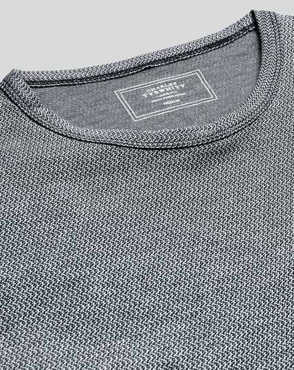 Cotton Linen Tyrwhitt T-shirt - Navy & White