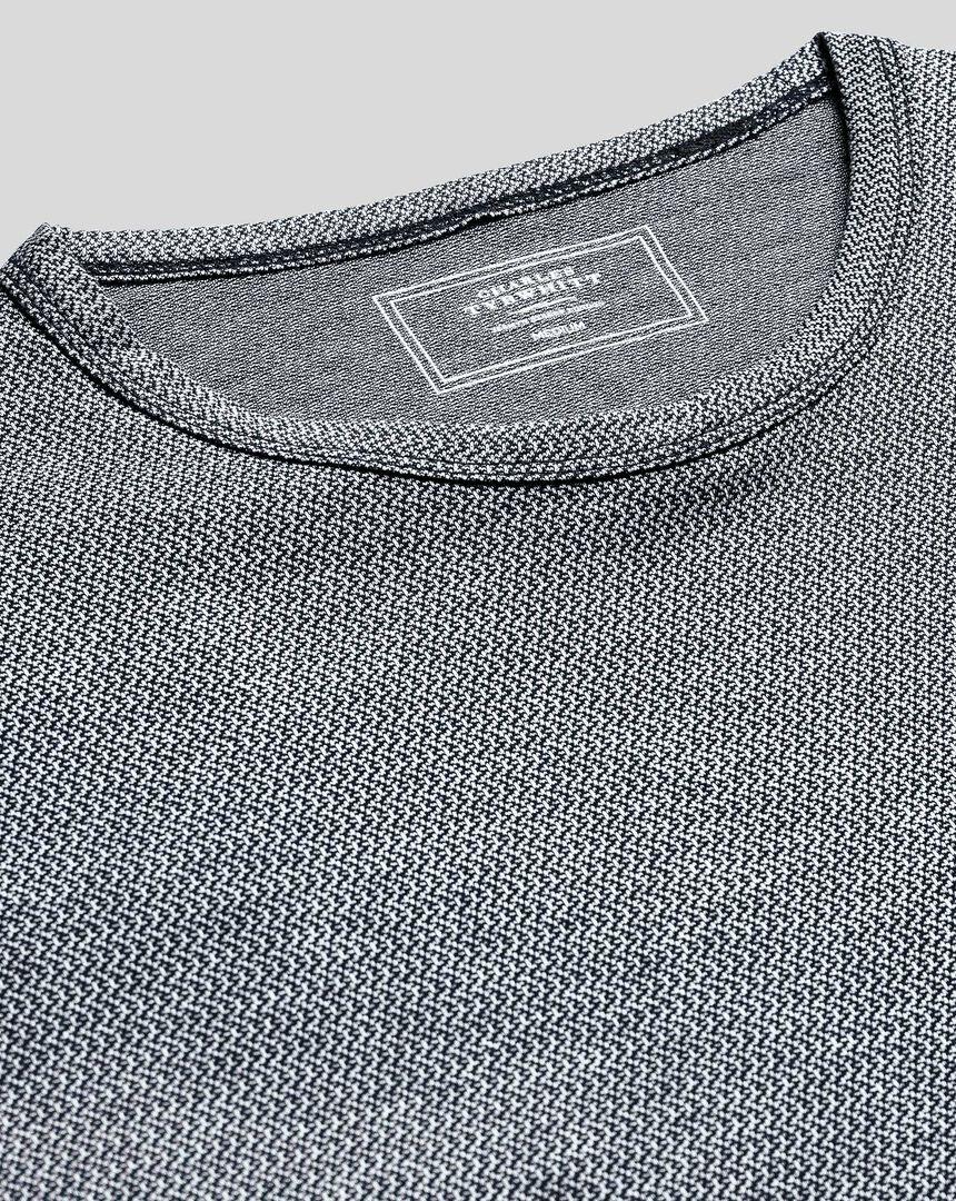 Cotton Linen Tyrwhitt T-shirt - Navy & White