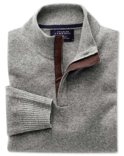 Silver grey cashmere zip neck sweater
