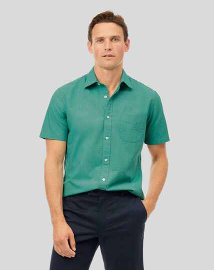 Classic Collar Short Sleeve Cotton Linen Shirt - Green