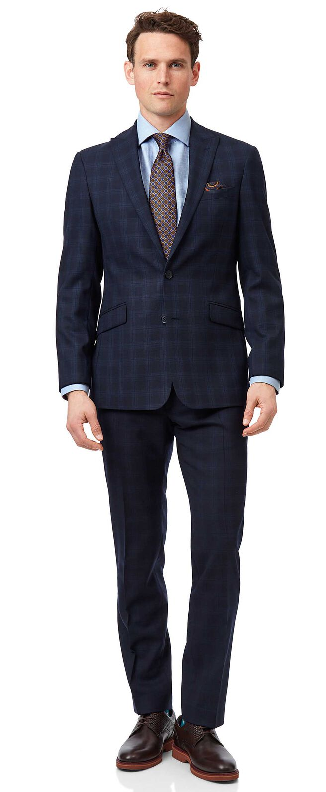 Midnight blue check slim fit suit