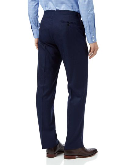 Blue classic fit British luxury suit trousers