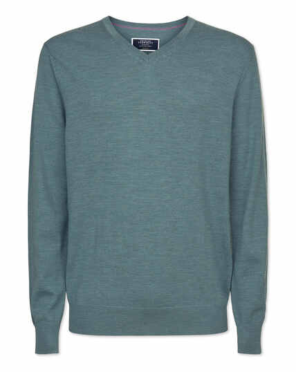 Blue merino v neck jumper