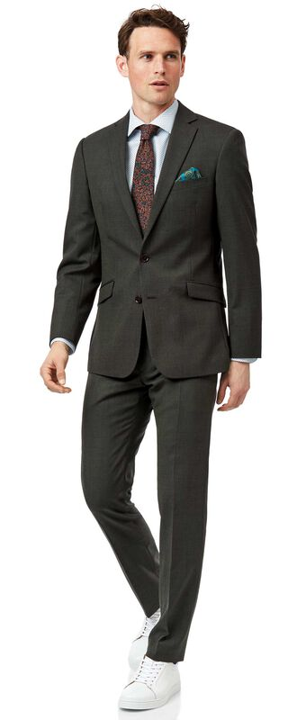 Green slim fit merino business suit