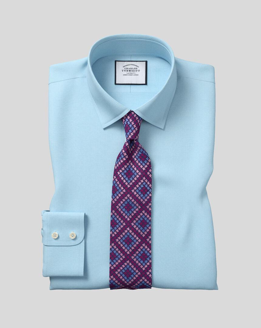Hemd aus ägyptischer Baumwolle mit Kent Kragen und Fischgrätmuster - Blaugrün