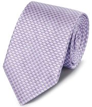 Lilac silk stain resistant puppytooth classic tie