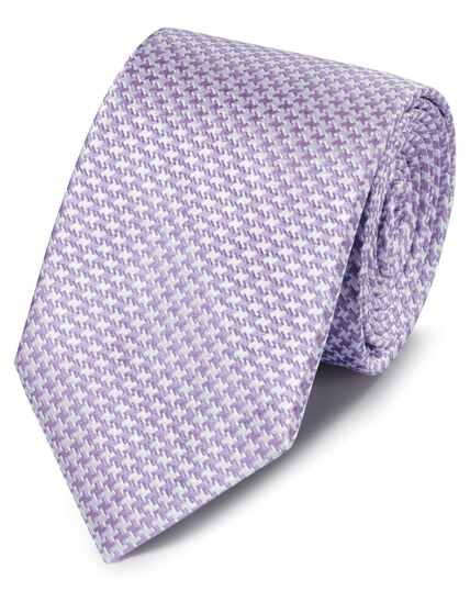Cravate classique lilas en soie anti-taches à motif pied-de-poule