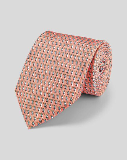 Toucan Silk Print Tie - Orange & Sky